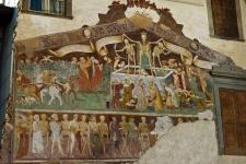 Чума в Италии 1348 года. Фреска на фасаде старого дома в Клузоне.